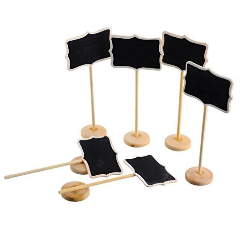 Fonder Mols 12 Mini Retangle Chalkboard Blackboard with Stand Wedding Party Table Numbers Place Card Favor Tag Plant Marker