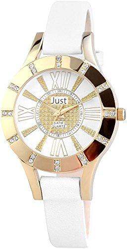 Just Reloj de pulsera banda de cuero Analog Blanco de 48s10108WH de Gd