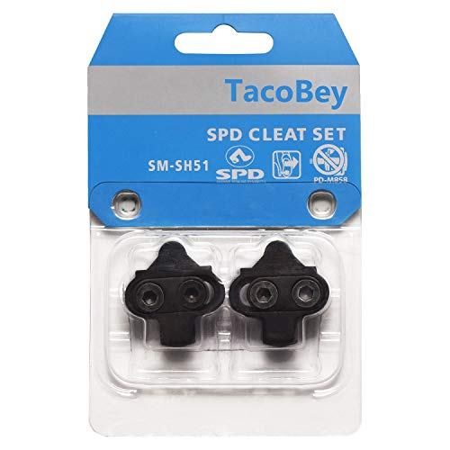TacoBey Bike Cleats Compatible with Shimano SPD SM-SH51 Cleats, For Spinning Peloton Indoor Cycling & Mountain Trekking Bicycle Cleat Clips Set- 4° Degree Float,Cr-MO Forging