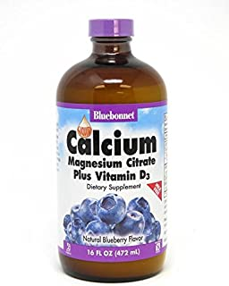 Bluebonnet Nutrition Liquid Calcium Citrate Calcium Citrate, Magnesium Citrate, Vitamin D3, Bone Health, Gluten Free, Soy Free, Milk Free, Kosher, 16 fl oz, 32 Servings, Blueberry Flavor