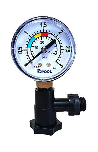 well2wellness® Pool Manometer/Wasser Druckmesser 1/8 Zoll mit T-Anschluss + Entlüfter (022017)
