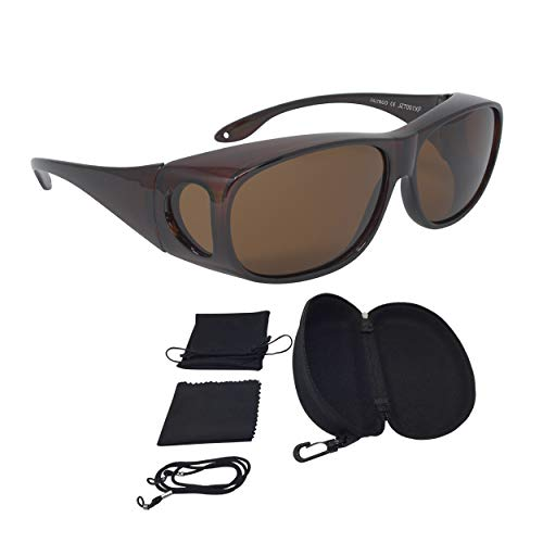 FALINGO Sonnenüberbrille Überzieh Sonnenbrille CLASSIC EDITION polarisiert UV 400 (Braun, Braun)