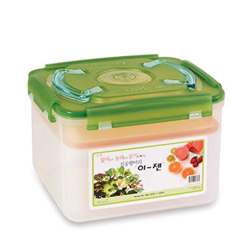 E-Jen Premium Kimchi, Sauerkraut Container Probiotic Fermentation with Inner Vacuum Lid (Earthenware Green, 1.9 gal/ 7.4L)