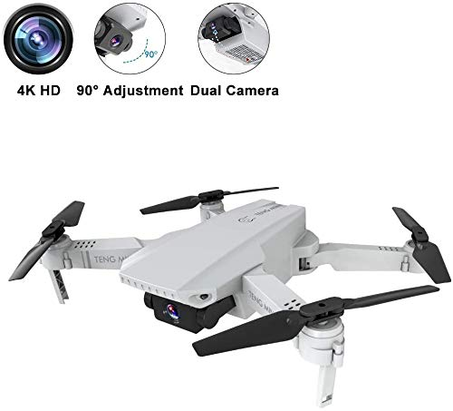 0BEST Mini Drone con videocamera HD 4K, Posizionamento del Flusso Ottico a Doppia videocamera, Mantenimento dell'altitudine, modalità Senza Testa,quadricottero Pieghevole WiFi FPV, per Principianti