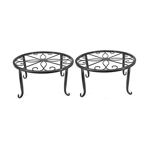 Soporte de Metal para macetas de jardín,Soporte de Metal para macetas de Interior,diseño Redondo de Hierro Forjado para decoración de balcón en Interiores y Exteriores