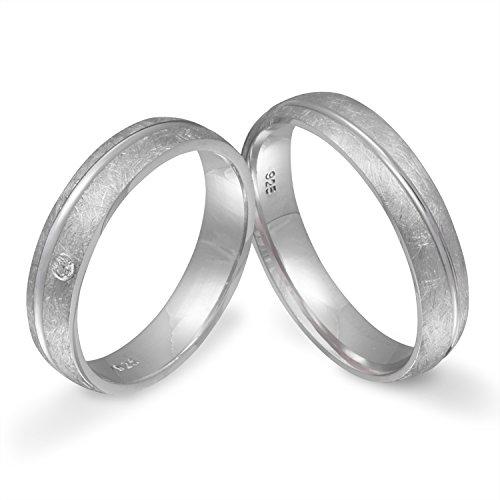 Juwelier Schönschmied - Zwei Partnerringe Verlobungsringe Eheringe Freundschaftsringe Silber Zirkonia inkl. persönliche Lasergravur 62-68 LANrS3HD - Si