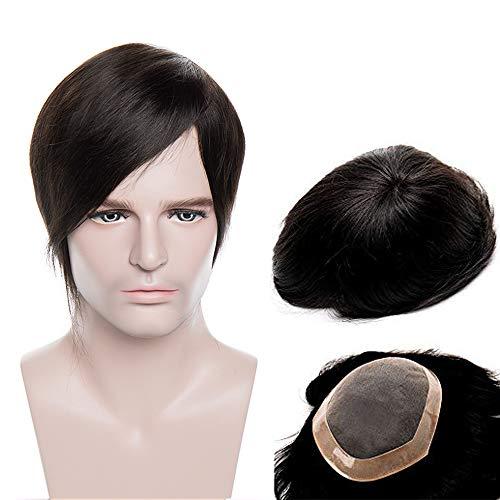 Toupee Uomo Capelli Veri Lace 15cm 6'*8' #Jet Nero - Parrucca Corta Human Hair Lisci Indiani Crochet Toupet Topper 50g 130% Density Traspirante [Base: Mono Lace + NPU]