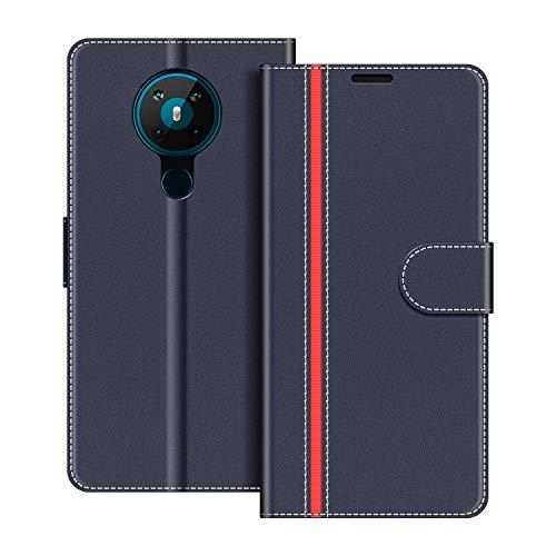 COODIO Handyhülle für Nokia 5.3 Handy Hülle, Nokia 5.3 Hülle Leder Handytasche für Nokia 5.3 Klapphülle Tasche, Dunkel Blau/Rot