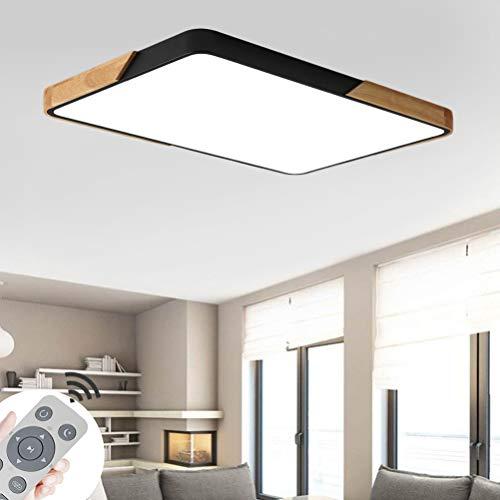 CASNIK 72W LED Deckenleuchte Lampe Deckenlampe für Wohnzimmer,Energie Sparen Licht, Dimmbar (3000-6500K) Warmweiß,Natürliches Weiß,KaltWeiß Mit Fernbedienung Leuchte (Holz-Quadrat Schwarz-72W)