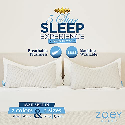 Side Sleeper Pillow - Neck Pillows for Pain Relief Sleeping - Queen Size Bed Pillow with Removable Washable Case - Back and Shoulder Support with Adjustable Memory Foam - 19' X 29' by Zoey Sleep