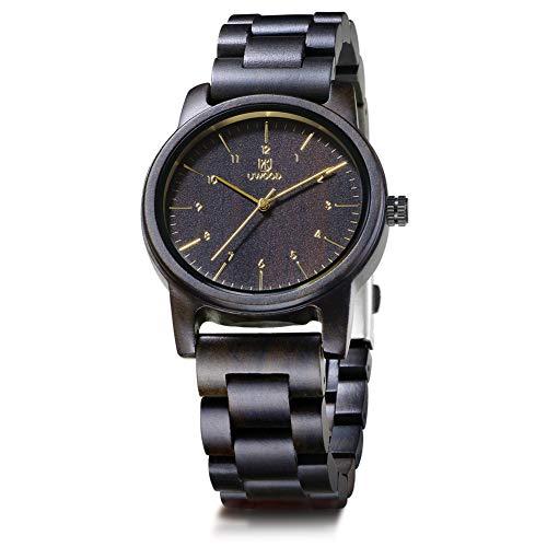SYLL Reloj de Madera para Hombre Relojes de Cuarzo Hombre Retro Sandalia cruda Relojes de Madera para Hombre Regalo de Marido,Ebony