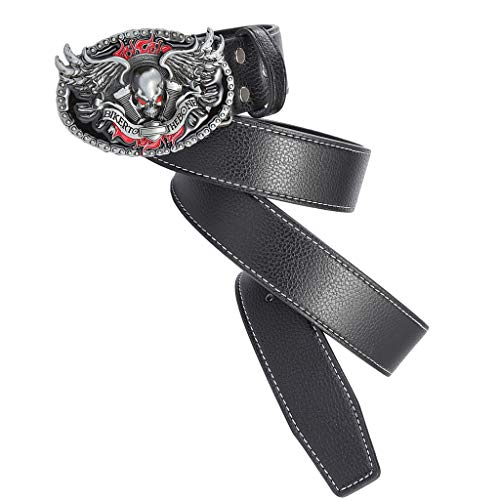 Baoblaze Cinturón de Cuero Artificial con Hebilla de Calavera Estilo Gótico para Hombres - Negro, talla única