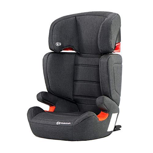 Kinderkraft Kinderautositz JUNIORFIX, Autokindersitz, Autositz, Kindersitz mit Isofix, Gruppe 2/3 15-36kg, Einstellbare Rückenlehne und Kopfstütze, ECE R44/04, Schwarz