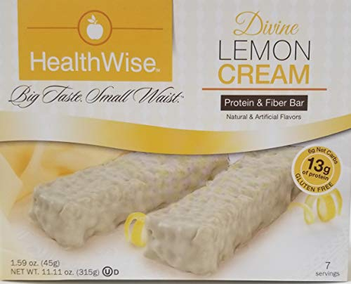 Healthwise - Divine Lemon Cream| Gluten Free Diet Snack Bars | Hunger Control and Appetite Suppressant High Protein, Low Fat, Chol Free, Low Net Carbs, High Fiber (7 Bars)