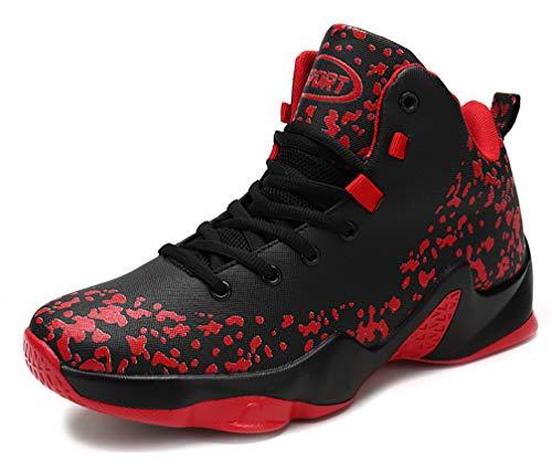 YVWTUC Męskie mocne buty do koszykówki modne trampki sportowe sportowe, - Czarny Czerwony - 45 EU