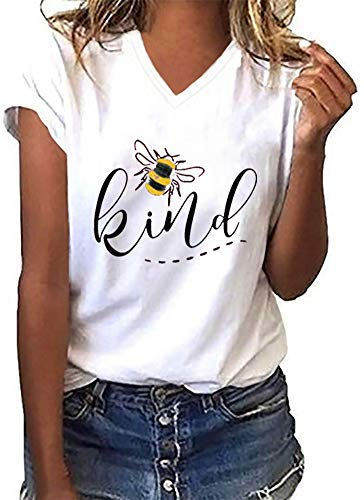 Womens Be Kind Graphic Tees V Neck Cute Printed Summer Casual T Shirts Tops (White,Medium)