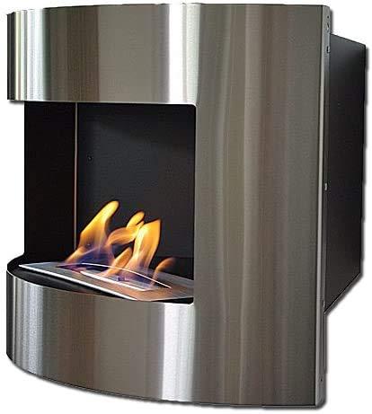Dekafire Chimenea de pared y de esquina DIANA Deluxe negro/acero inoxidable etanol + 2L quemador ajustable