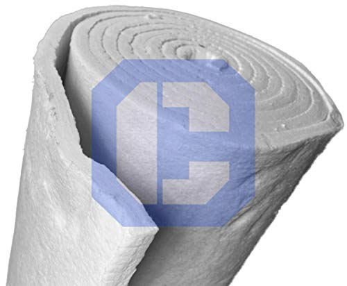 Ceramic Fiber Insulation Blanket 8# lb Density (2' x 24' x 6.25') for Thermal Insulation in Stoves, Fireplaces, Ovens, Kilns, Forges, Furnace and More
