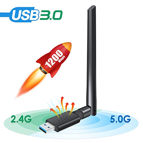[2020 Newest] Carantee 3.0 USB WiFi Adapter 1200Mbps, Wireless Network WiFi Dongle for PC/Desktop/Laptop with 5dBi Dual Band Antenna, Support WinXP/7/8/10/vista, Mac10.4-10.14, Linux