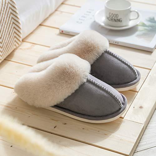Luntus Zapatillas de casa paraMujer,Zapatos Planos de Gamuza de algodón, Zapatillas de Felpa para Hombre, Diapositivas de Dormitorio para Parejas, Zapatos de Interior Peludos