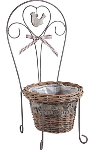 Cache-pot chaise en osier brut et métal laqué Ø 17 h 14 cm