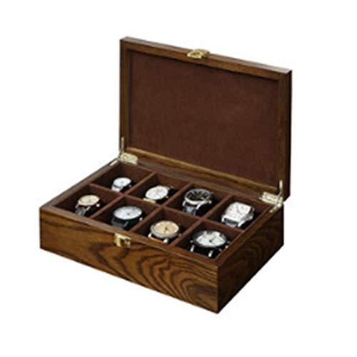 LSCZQ Gabinete de exhibición de Reloj Retro 8 Rejillas para Hombres, Caja de Reloj Interior de Franela de Madera Maciza y protección de corrosión de Calidad, Hermosa y Simple
