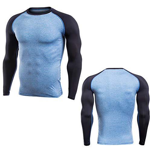 Camisa de compresión Hombre Equipo de entrenamiento deportivo para hombres Equipo superior Muscle Slim , Camiseta de entrenamiento de entrenamiento para hombre con gimnasio, manga larga, sudadera cali