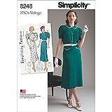 Simplicity Pattern 8248 P5 (12-14-16-18-20) Misses' Vintage 1930's Dresses, Paper, White, 22 x 15 x 1 cm