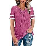 Aahkloijw Camiseta de manga corta para mujer, para verano, informal, cuello en V, para uso diario, cómoda, básica, suéter Rosa. XL