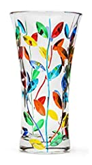 Murano Crystal Glass 100% Made in Italy Hand painted Vibrant Colors add color and a touch of Italy to any room Large size, vase is great as a centerpiece Durable High Quality Glass - You can distinguish the skilled craftsmanship in this vase and be c...