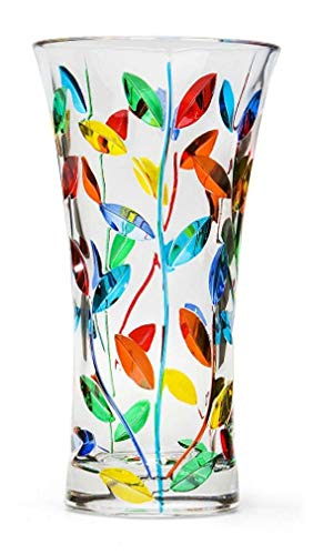 Murano Glass Large Tree of Life Vase - Hand Painted, Made in Italy