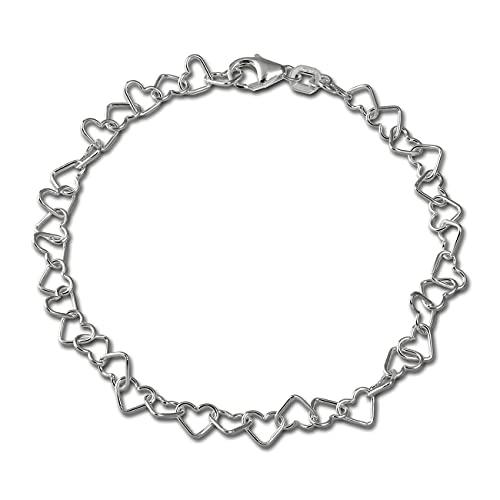 SilberDream Pulsera de corazón de 19 cm para mujer de plata de ley 925 SDA2119J