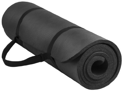 BalanceFrom BFGY-AP6BLK Go Yoga All Purpose Anti-Tear Exercise Yoga Mat For Home Workout with Carrying Strap, Black, One Size
