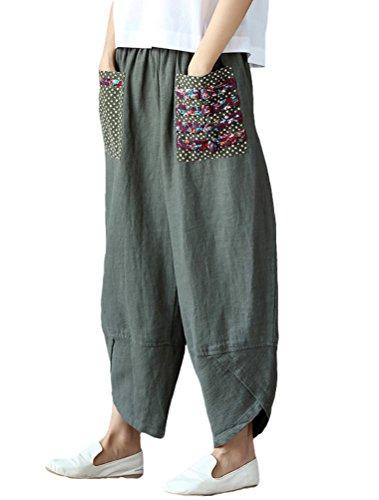 Minibee Women's Baggy Linen Wide Leg Trousers Casual Patchwork Elastic Waist Harem Pants Army Green M