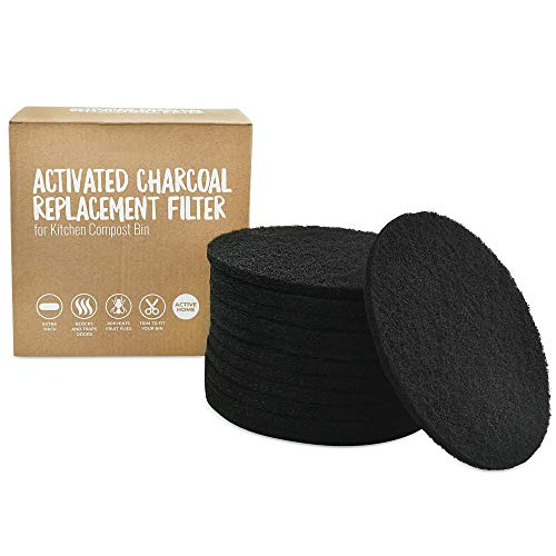 12 Pack Activated Charcoal Replacement Filters for Kitchen Compost Bin 6.5