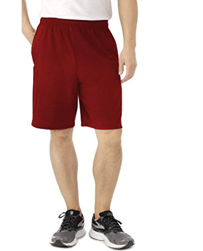 Fruit of the Loom Men's Jersey Short with Side Pockets (X-Large, Cardinal)