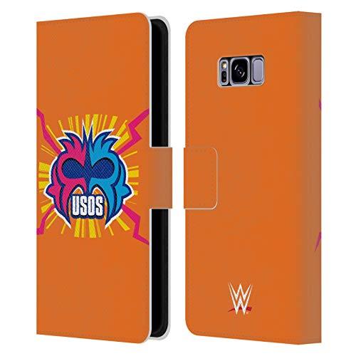 Head Case Designs Oficial WWE Juega Duro en la Pintura Los Usos Carcasa de Cuero Tipo Libro Compatible con Samsung Galaxy S8+ / S8 Plus