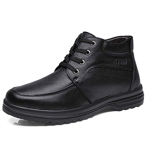 ZXF Herren Oxford High Top mittleres Alter Schnürsenkel mit Fleece-Futter Arbeitsstiefeln Souvenirs Mode Schuhe (Color : Schwarz, Größe : 41 EU)