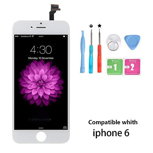 Rarlon Display Compatible with iPhone 6 Weiß LCD Bildschirm Ersatz Für Touchscreen Glas Reparaturset Ersatz Einschließlich Kostenlose Werkzeug(6G-Weiß)