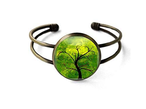 Sunshine Pulsera de joyería de moda,Pulsera verde del árbol de la vida,Regalo a ella