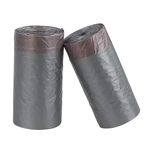 Minekkyes Bolsas de basura con cordón para cocina, 40 litros, de plástico, color gris