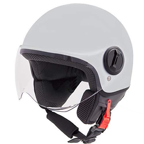 Vinz Sole Roller Helm Jethelm Fashionhelm | in Gr. XS-XL | Jet Helm mit Visier | ECE Zertifiziert | Motorradhelm Basic | Titanium