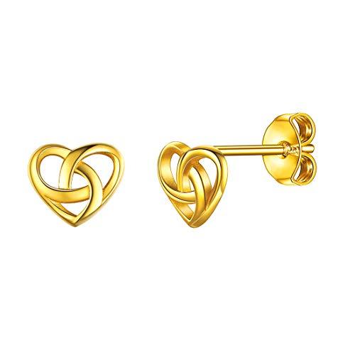 ChicSilver Gold Stud Earrings for Girls 18K Gold Plated Celtic Knot Earring Studs Delicate Tiny Ear Studs Hypoallergenic Jewelry Earrings for Women Little Girls Starter Earrings for Piercing Ears