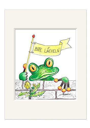 H. Brosien Passepartout Bild Frosch mit Fahne Bitte lächeln! 30cm Kunstdruck