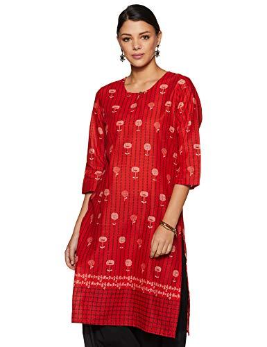 Rangriti Women's Cotton a-line Kurta (RMMELPP3357_Red_2XL (42))