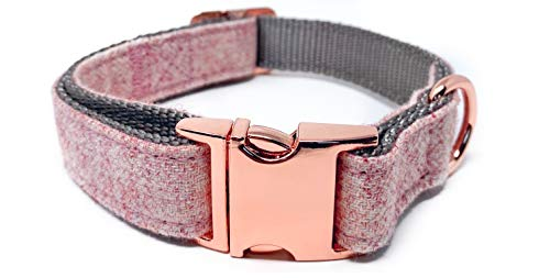 InstaPetTags Cute Nylon Dog Collars and Leashes, with Metal and Rose Gold Buckles (Medium Collar, Pink w/Rose Gold)