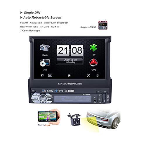 LSLYA Autoradio Single DIN Pantalla táctil para Coche 7 Pulgadas USB,AUX IN,TF con GPS Navegador Autoradio Bluetooth,Radio FM y Control