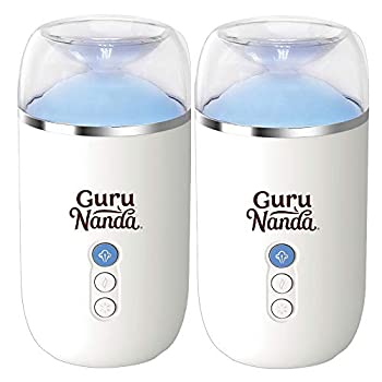 GuruNanda Essential Oil Diffuser  Pack of 2  - 100 ML Modern Aromatherapy Ultrasonic Diffuser - Runs Upto 6 Hours with Auto Shut Off - Cool Mist Humidifier with 7+ LED Lights