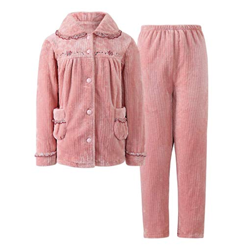 LEYUANA Conjuntos de Pijamas de Franela Gruesa de Invierno para Mujer, botón de Solapa de Manga Larga, Ropa de Dormir para Mujer de Otoño Invierno, Pijamas para Mujer MS