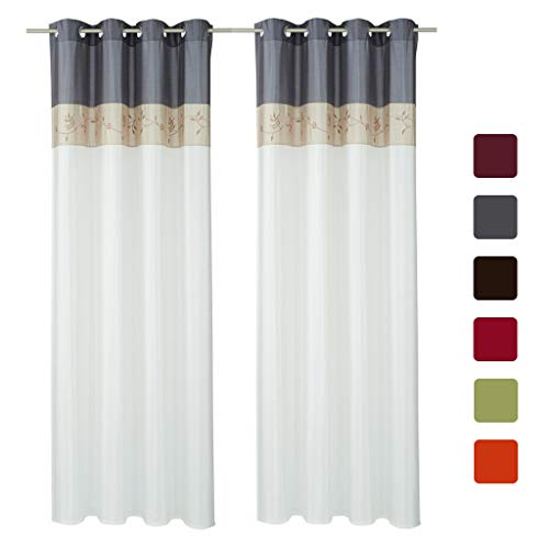 SIMPVALE Juego de 2 Cortinas Floral Bordadas con de Seda Artificial con Ojales para Balcón Salón Dormitorio (Gris, Ancho 145cm/Altura 245cm)